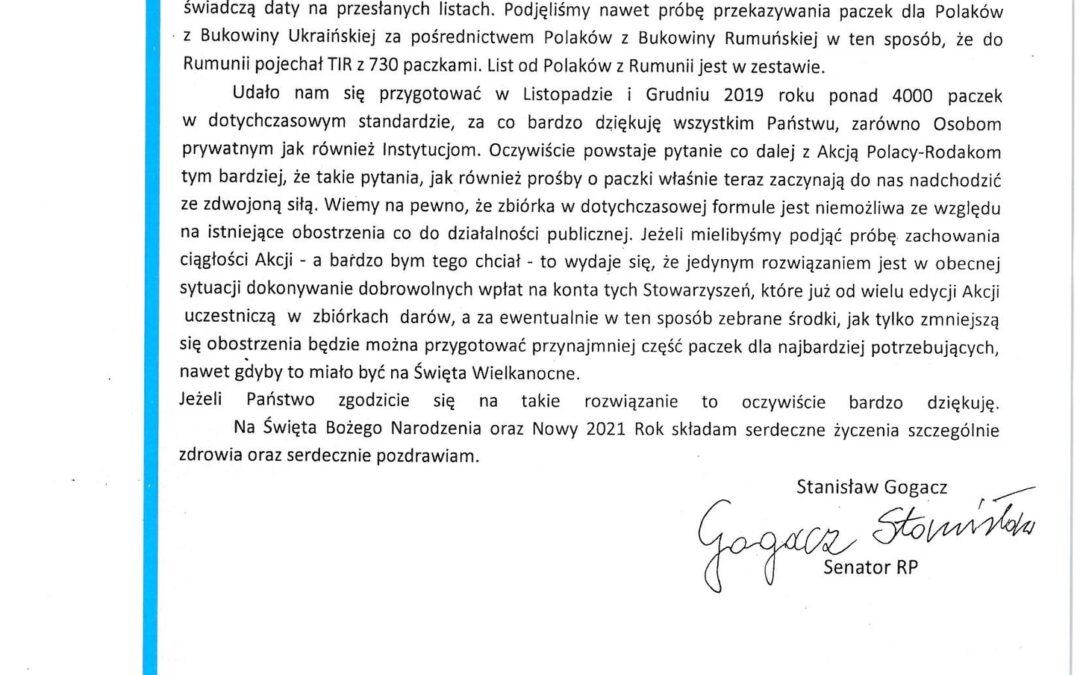 Podziękowania od Senatora RP Stanisława Gogacza